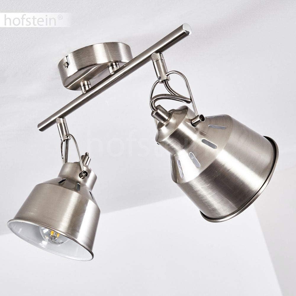 3 spots de plafond pivotants pour ampoules E14 max 40 Watt compatible ampoules LED Plafonnier Safari en m/étal blanc