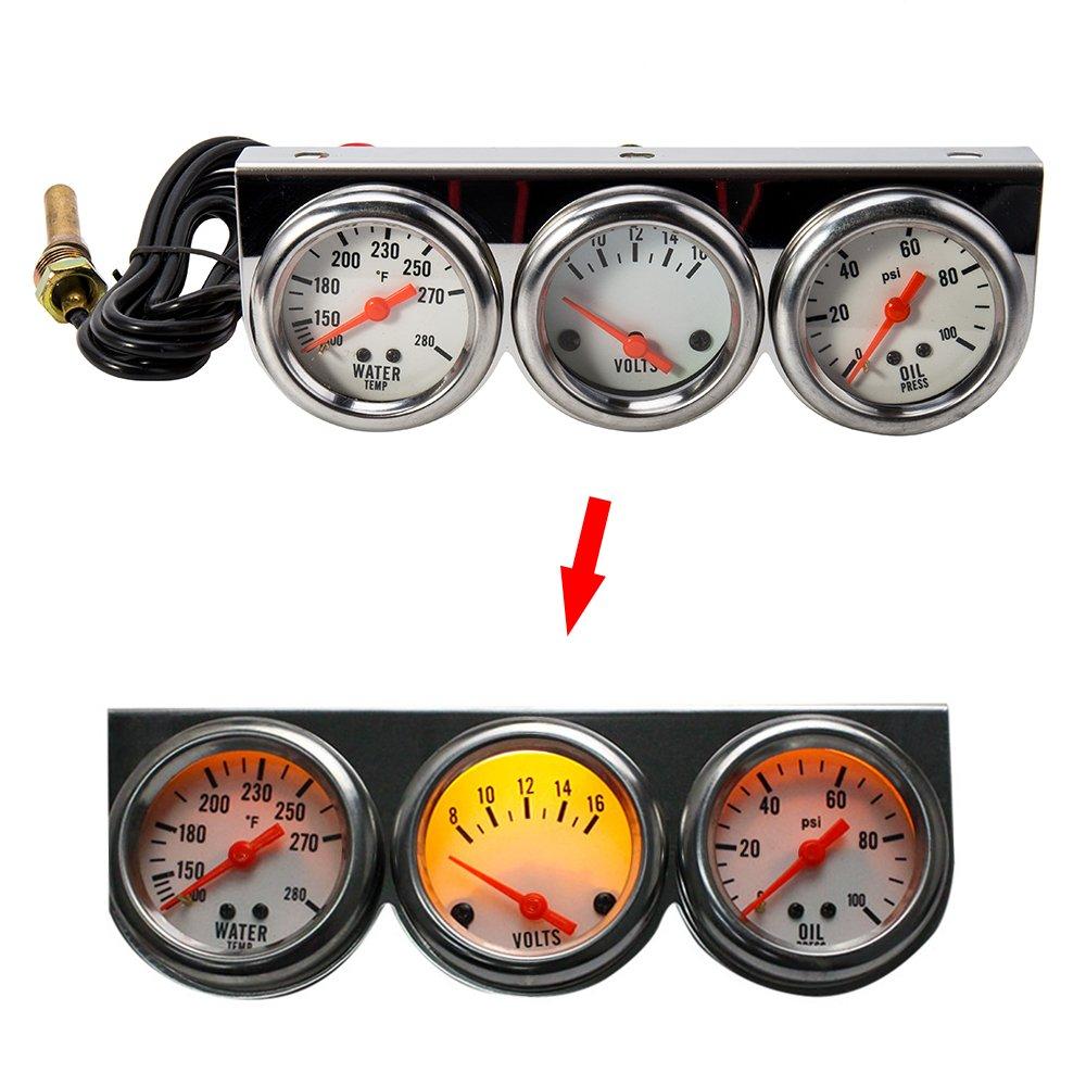 Littleduckling 2 Triple Gauge set Universal 3 in 1 Auto Meter Oil Pressure Water Temperature Gauge Voltmeter for Car Motorcycle