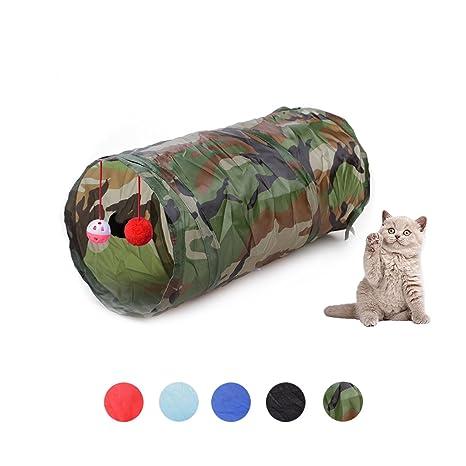 Gato de juguete plegable bases acoplables de túnel, PET Play tubo con campana y pelota