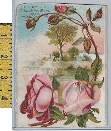 Victorian Card, 1890's, Bragdon Shoe Store, Waterloo, Iowa, Roses, - Waterloo Stores