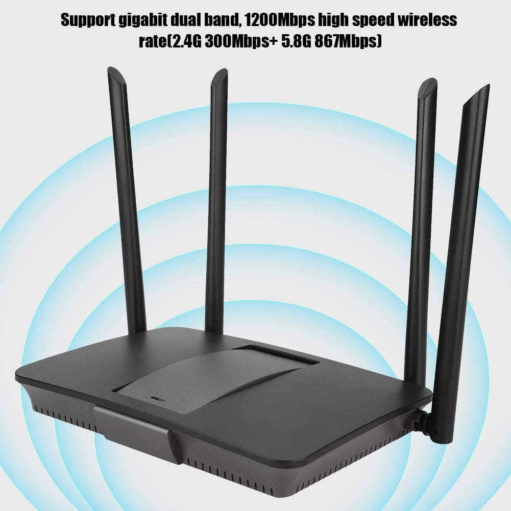 IP Speed Limit,128 MB Memory Diyeeni 1200Mbps Router,Dual Band Router with Four Antennas Heat Emission Hole at The Bottom,Support QoS Intelligent Flow Control