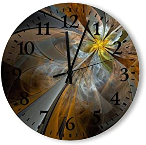 Wood Wall Clocks Symmetrical Yellow Fractal Flower Simple Watches Time for Kitchen Office Living Bedroom Wood Round Wall Clock Made in USA