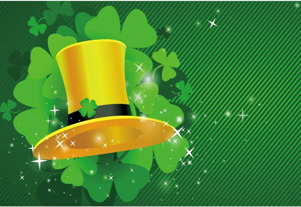 YEELE 10x8ft St.Patricks Day Green Backdrop Golden Leprechaun Hat and Lucky Irish Green Clover Spring Photography Background Kid Children Adult Photo Booth Shoot Props Digital Wallpaper