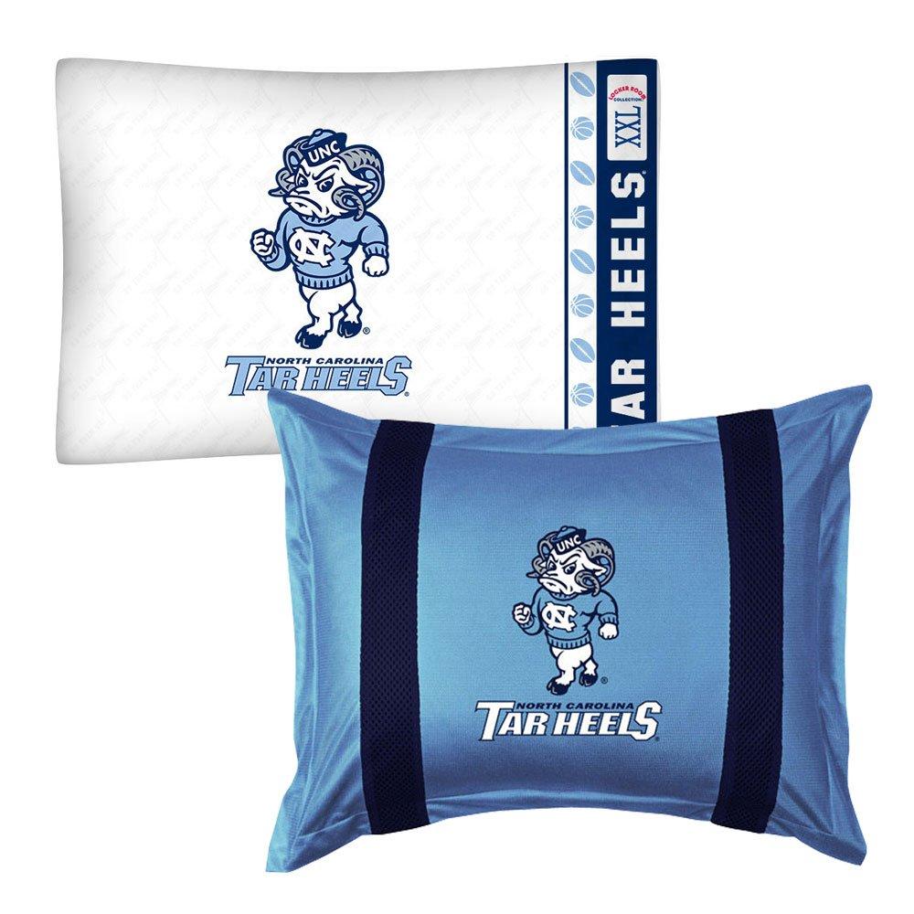 2pc NCAA North Carolina Tar Heels Pillowcase and Pillow Sham Set College Team Logo Bedding Accessories