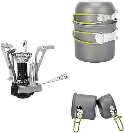 PULNDA 2PCS Utensilios Portátiles de Cocina de camping de aleación de aluminio Pot Pan cocina Set con Picnic estufa quemador para senderismo Camping ...