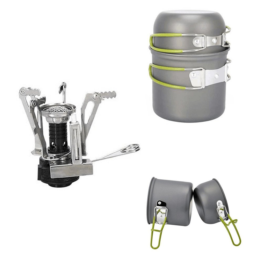 PULNDA 2PCS Utensilios Portátiles de Cocina de camping de aleación de aluminio Pot Pan cocina Set