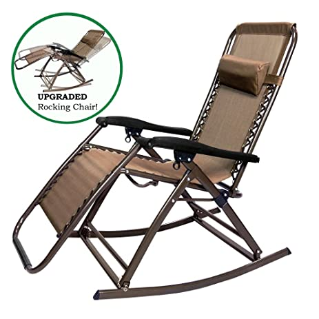 PARTYSAVING Infinity Zero Gravity Rocking Chair Outdoor Lounge Patio  Folding Reclining Chair APL1271, Brown