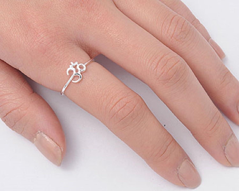 Amazon.com: Om Sign Yoga .925 Sterling Silver Thin Fashion Ring Band ...
