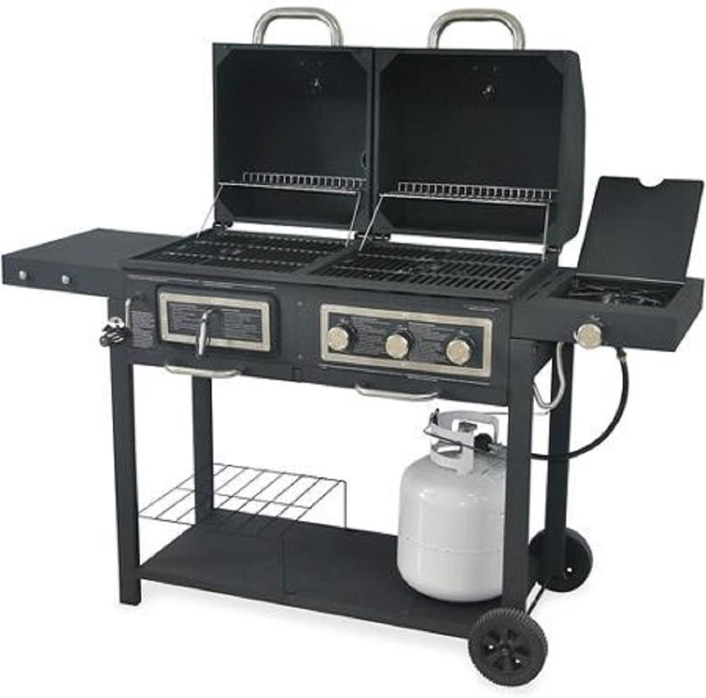 Durable Outdoor Barbeque Burger Gas charcoal Grill Combo Comes with a Chrome Plated Warming Rack and a Porcelain Heat Plate,3-burner Grill with Integrated Ignition and Also Has a Handy Tool Holders