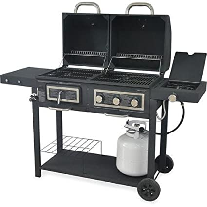 6c19bb9c5b3 Durable Outdoor Barbeque   Burger Gas charcoal Grill Combo Comes with a  Chrome Plated Warming