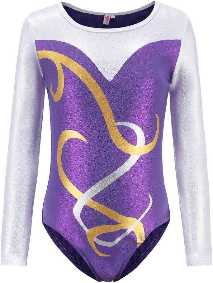 Wingbind Sparkle Long Sleeve Gymnastic Leotard for Girls,Pattern Printed Shiny Ballet Dance Costumes for Kids 5-12