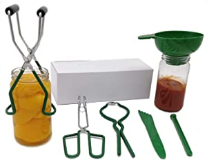 Home Canning Kit Canning Supplies Include Plastic Canning Funnel, Jar Lifter, Jar Wrench, Lid Lifter,Tongs,Bubble Remover Tool for Canning Jars Mason Jars Canning Pot (Green 6 Pcs)