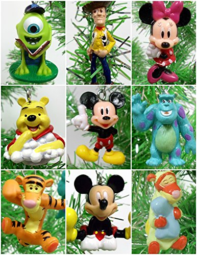 Set of 9 RANDOM Disney Themed Christmas Tree Ornaments Featuring Characters from Winnie the Pooh, Toy Story, Monsters Incorporated, Mickey Mouse Clubhouse and More