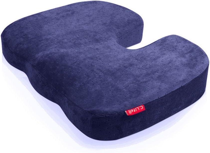 Halovie Suave Coxis Ortopédica Cojín Almohada Espuma de Memoria para Silla Cojín asiento Alivia el Dolor y Corrige la Postura 45 * 35 * 7Cm Azul