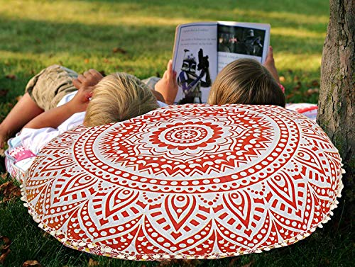 Indian Red Ombre Mandala Floor Pillow Cushion Seating Throw Cover Hippie Decorative Cover Size 32