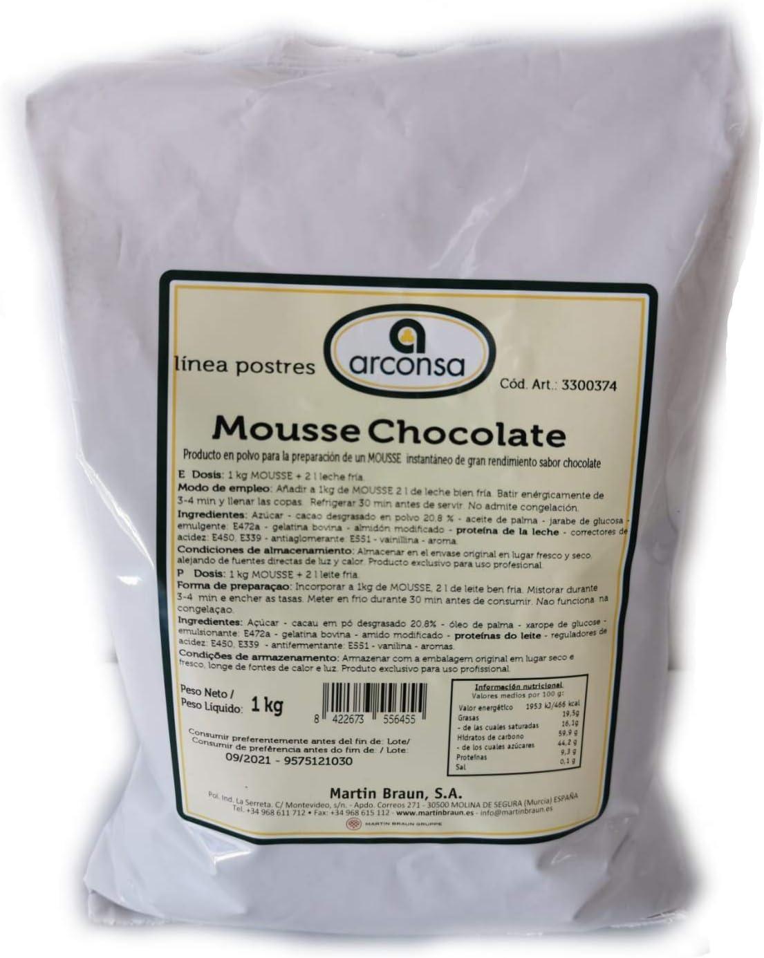 Mousse Chocolate Arconsa – Mezcla en polvo para postre ...