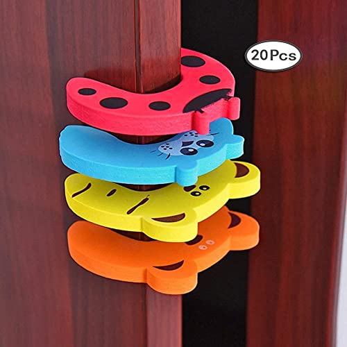 20 Pcs Cartoon color door card, Prevent clip finger, Protect the Baby fingers, Children s door stop, Pack of 20