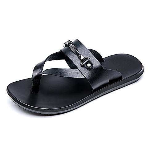 eb38631facc LLPSH Men s Casual Thong Flip Flops Shoes Genuine Leather Beach Slippers Non -Slip Soft Flat