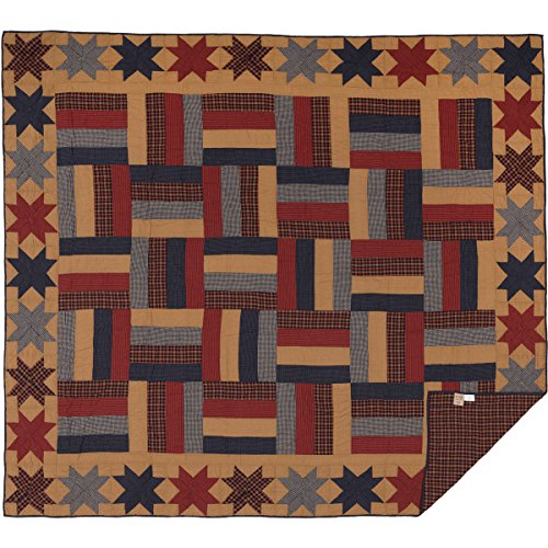 VHC Brands Primitive Bedding National Museum Kindred Stars and Bars Quilt, King, Tan