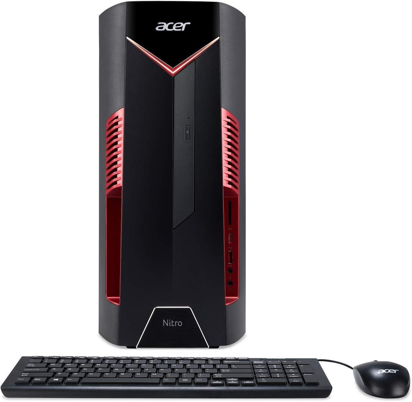Acer Nitro 50 N50-600-NESelecti7RX580 Desktop, 8th Gen Intel Core i7-8700, AMD Radeon RX 580 Graphics, 8GB DDR4 + 16GB Optane Memory, 1TB HDD, Windows 10 Home (Renewed)
