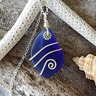 product image for Handmade in Hawaii, wire wrapped Cobalt blue sea glass necklace, (Hawaii Gift Wrapped, Customizable Gift Message)