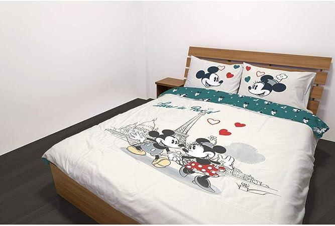 Mickey y Minnie Kiss Love Funda de edred/ón de 200 x 200 cm algod/ón Juego de Cama Doble
