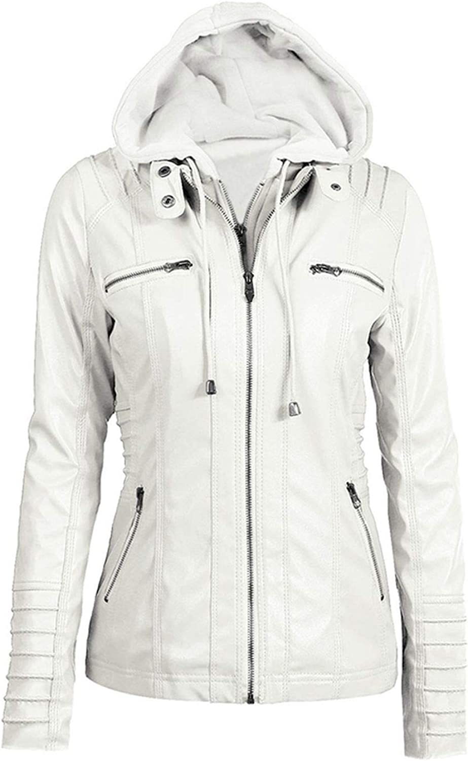 Be fearless Winter Slim Zipper Hooded Coat Female Warm Casual Outerwear Solid 2XL Fall Leather Jacket Coats,White,M