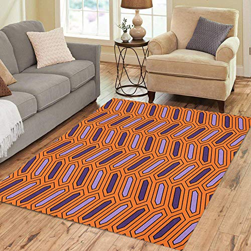 Semtomn Area Rug 5' X 7' Orange African Braid Octagons Herringbone Symmetric Geometric Abstract Purple Ankara Home Decor Collection Floor Rugs Carpet for Living Room Bedroom Dining -