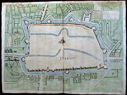 Utrecht Holland Netherlands windmills streets 1673 Priorato old city plan map