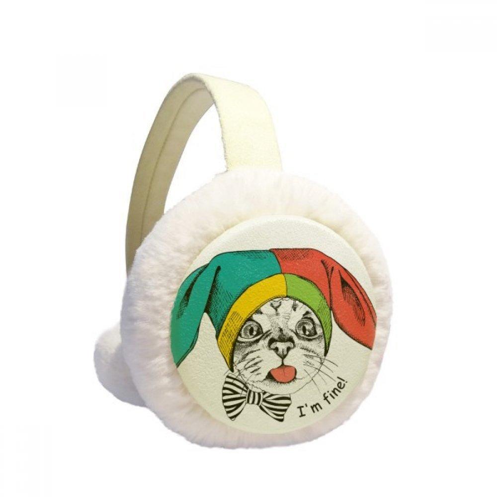 Foolscap I'm Fine Cat Protect Animal Winter Earmuffs Ear Warmers Faux Fur Foldable Plush Outdoor Gift