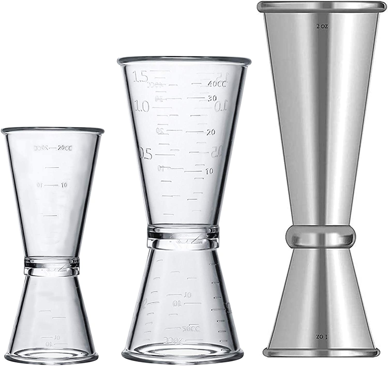 Stainless Steel Double Single Shot Measure Jigger Spirit Cocktail Drink Cup New.