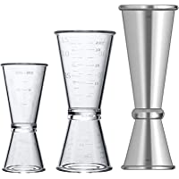 Double Clear Plastic and Stainless Steel Japanese Style Jigger, Set of 3, Cocktail Measuring Shot Glasses Drink Spirit…