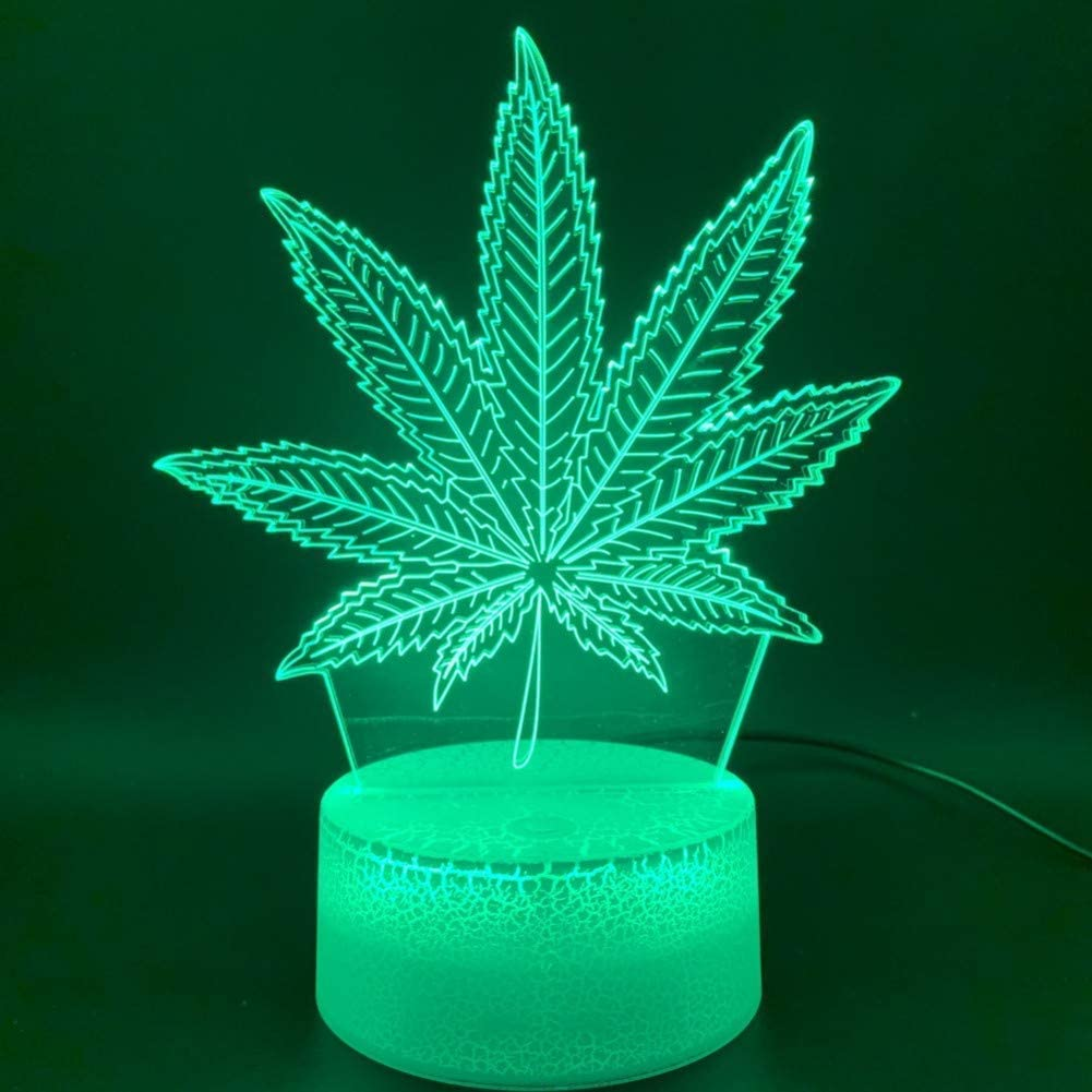 Night Light 3D Illusion Led Night Light Lamp Botánica Cannabis Marijuana Office Bar Room Lámpara decorativa USB o con batería Nightlight