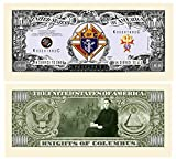 Knights Of Columbus Million Dollar Bill with Currency Protector