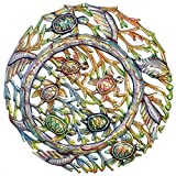 Global Crafts Painted Sea Turtle 22 inch Metal Wall Art - Indoor or Outdoor Metal Wall Art Haiti