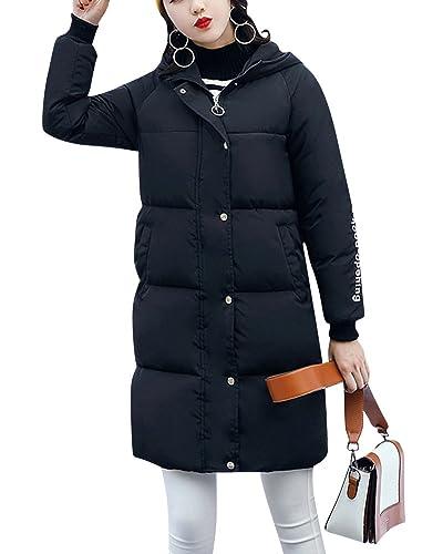 Mujer Manga Larga Abrigo de Cremallera Acolchado Chaqueta Largo Con Capucha