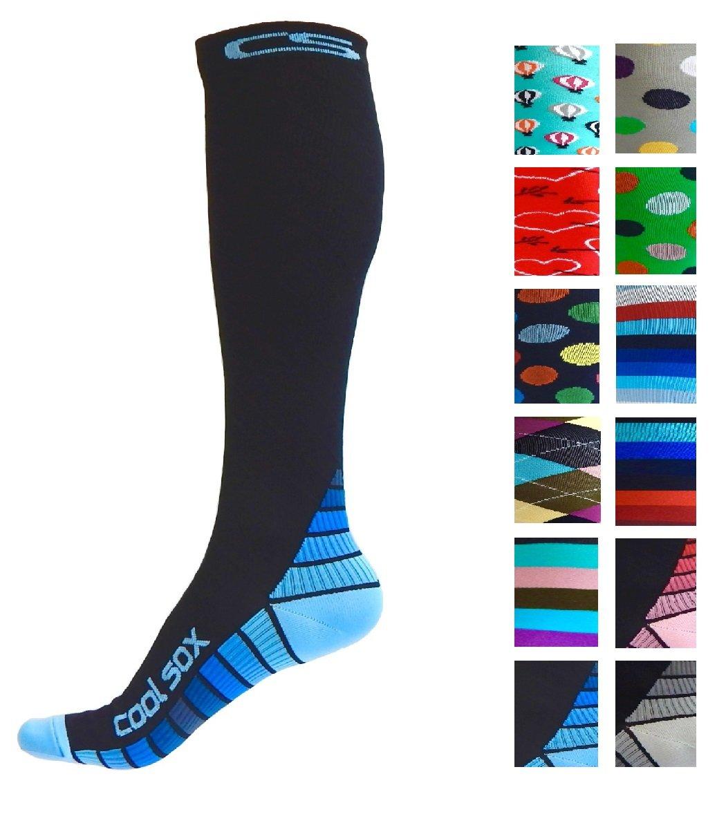 Compression Socks for Men & Women - Best Graduated Athletic Fit for Running, Nurses, Shin Splints, Flight Travel, Maternity Pregnancy - Boost Stamina, Circulation & Recovery (Black & Blue, S/M)