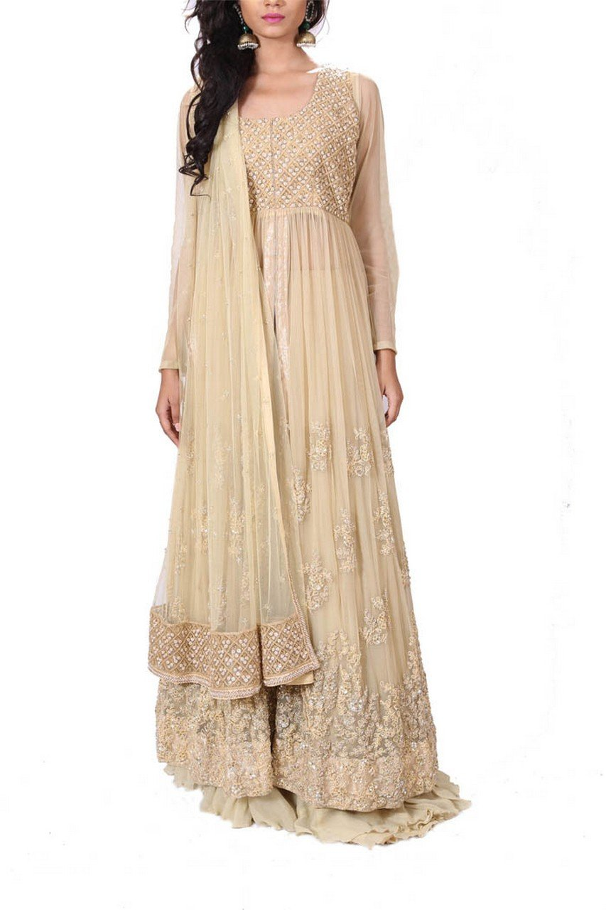 Anju Agarwal Beige Jacket-Lehenga Set by Saris and Things