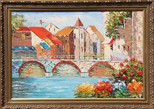 Burnett Canvas Painting (Untitled - Village Canal)