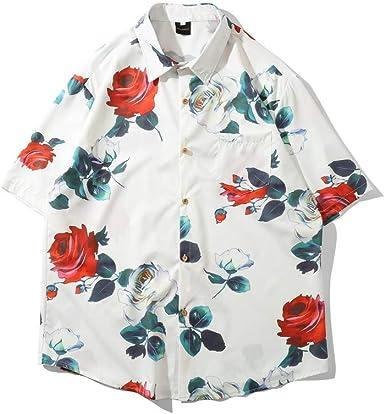 Camisa de Hombre Solapa Japonesa Manga Corta Playa Europea y ...
