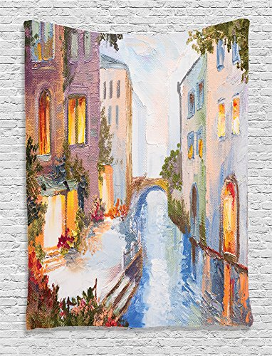 Ambesonne Lakehouse Decor Collection, Historical Cityscape with Vintage Houses Along Water Canal in Venice Italy Oil Painting, Bedroom Living Room Dorm Wall Hanging Tapestry, Blue White Lilac Ecru - Canal Tapestry
