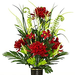 Ruby's Silk Flowers Red Spider Mums Artificial Bouquet, featuring the Stay-In-The-Vase Design(c) Flower Holder (MD1776) 41