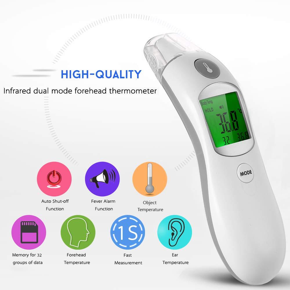 Leepesx Digital IR Infrarot K/örper Fieber Thermometer Erwachsenen Kinder Stirn und Ohr Thermometer f/ür Baby Kinder und Erwachsene