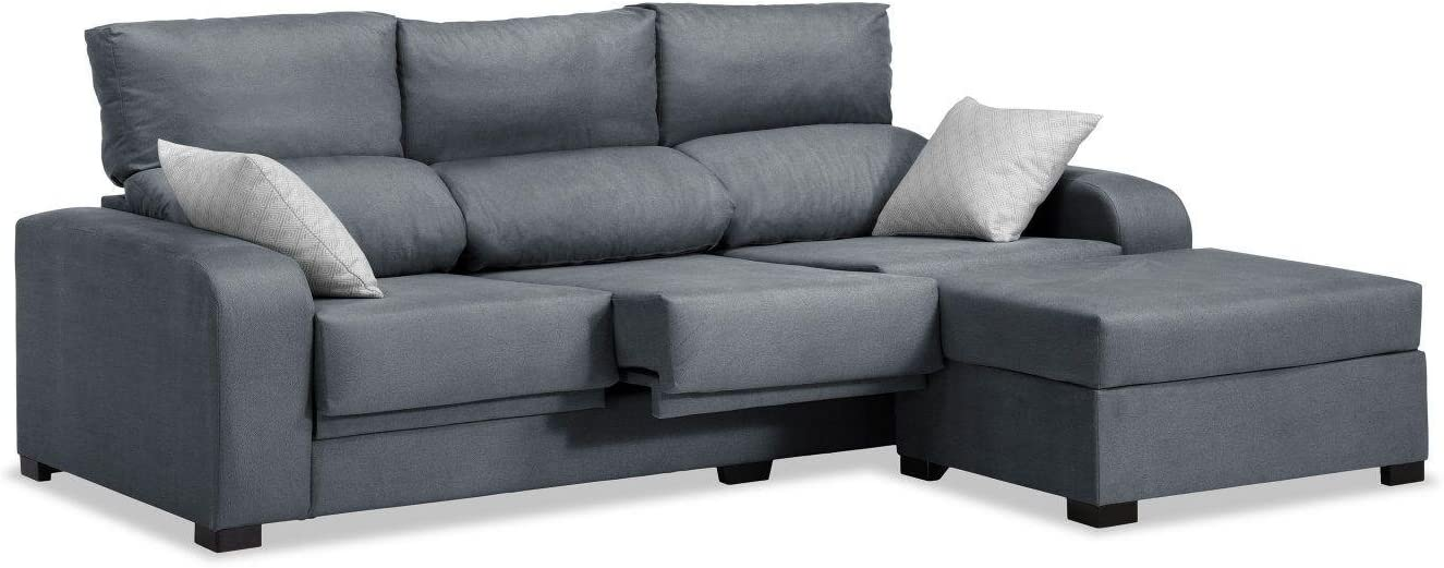 Mueble Sofa con sillón Chaise Longue 3 plazas Color Gris Marengo cheslong  Subida A Domicilio