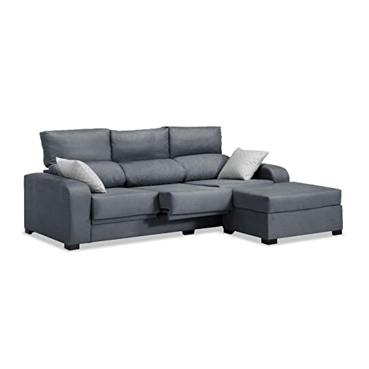 Mueble Sofa con Chaise Longue 3 plazas color gris marengo cheslong chaiselongue ref-55 SUBIDA A DOMICILIO