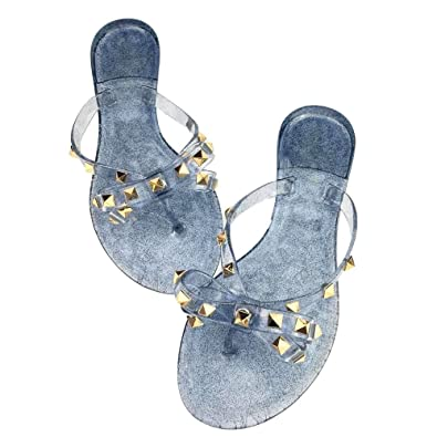 c491f6dd920a Mtzyoa Women Stud Bow Flip-Flops Sandals Clear Beach Flat Rivets Rain Jelly  Shoes
