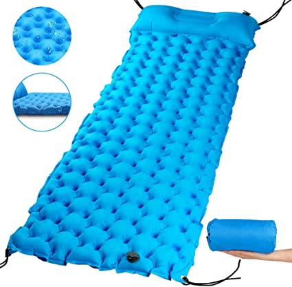 ISOPHO Sleeping Pad Camping Pad Waterproof Inflatable Sleeping Mat with Pillow Ultralight Durable Camping Mattress for Backpacking Traveling Hiking Built-in Pump