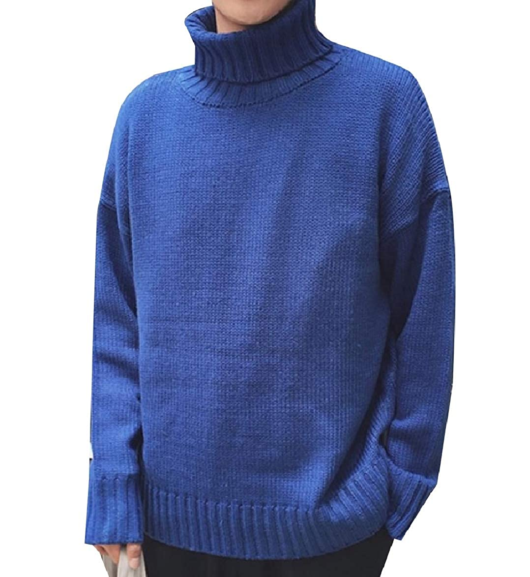 XiaoShop Mens Knitwear Mock Neck Warm Pure Colour Knit Pullover Sweater