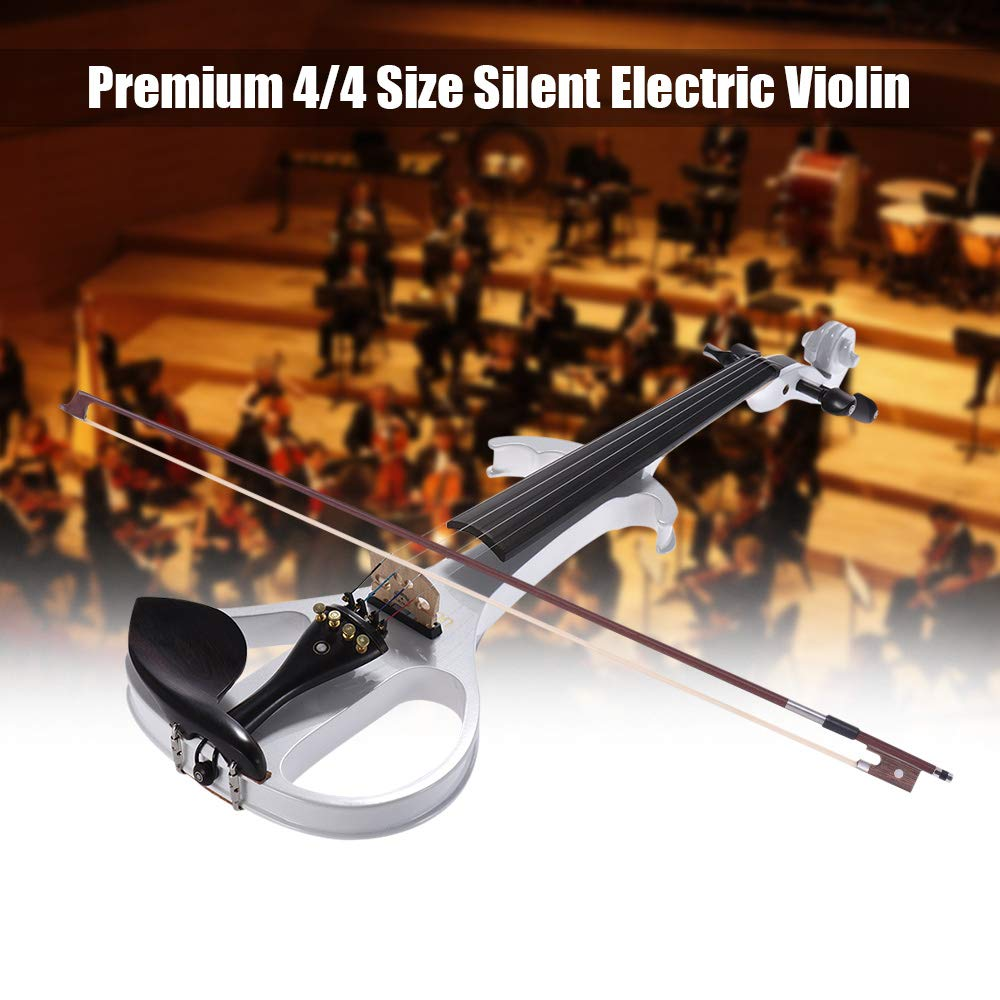VE-209 Full Size 4/4 Solid Wood Silent Electric Violin Fiddle Maple Body Ebony Fingerboard Pegs Chin Rest Tailpiece with Bow Hard Case Tuner Headphone Rosin Audio Cable Extra Strings White
