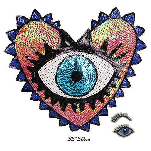 1Pc Love Large Sequin Heart Evil Eyes Patch No Glue Cartoon Motif Applique Embroidery Garment Accessory (Blue A)